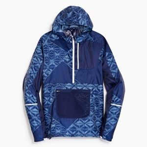 New Balance for J.Crew Navy Print Packable Anorak